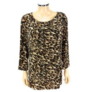 CHICO'S TRAVELERS Studded Top Shirt Leopard SIZE 3
